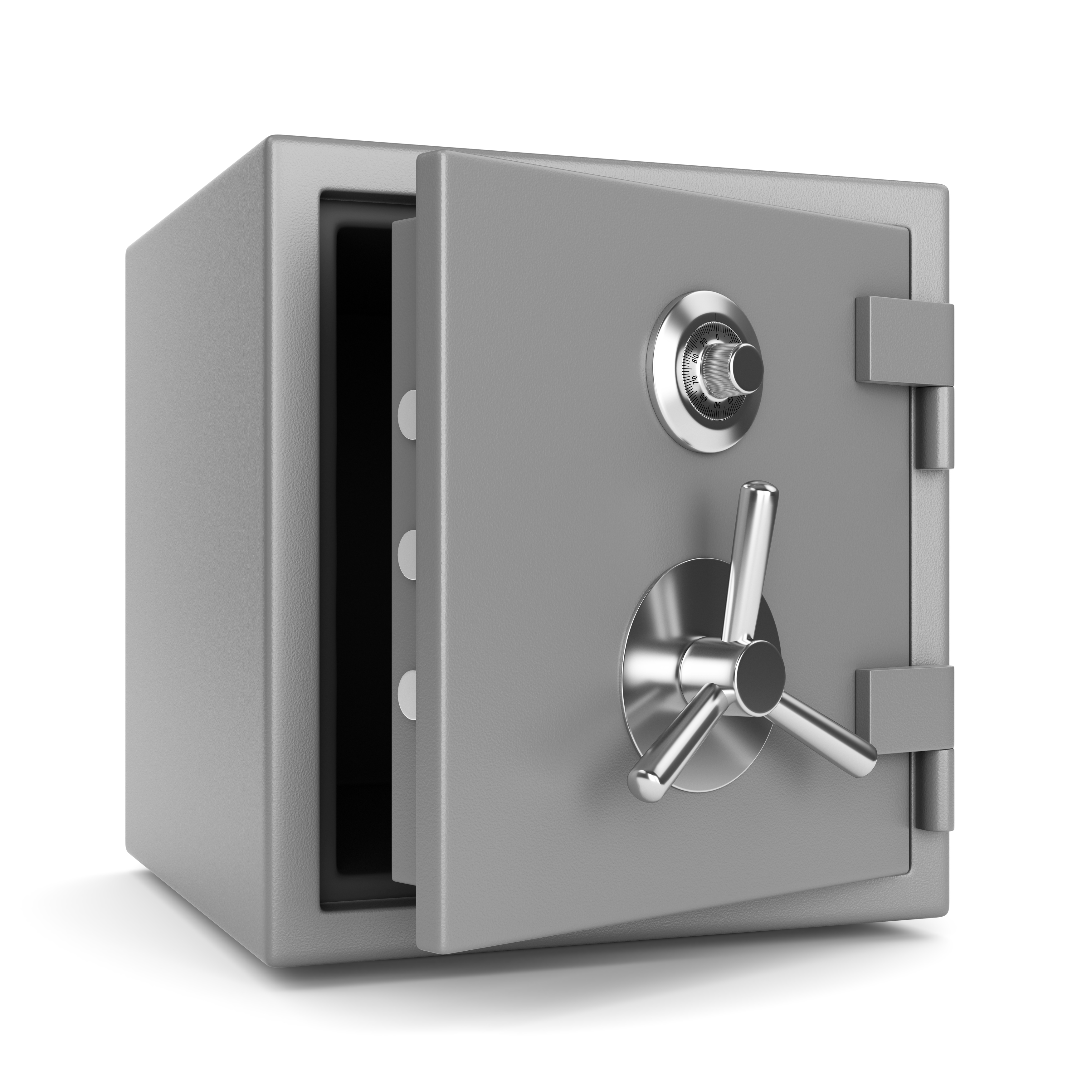 Open metal bank security safe with dial code lock isolated on white background. 3D illustration